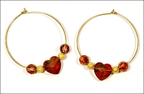Image Circle Around My Crystal Heart Earrings