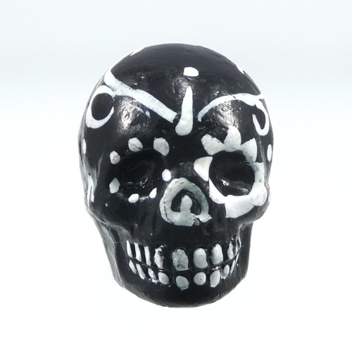 16 X 22mm Sugar Skull Hand Painted Clay Bead Black And White Day Of Th Dead Skull Bead Natural Beads