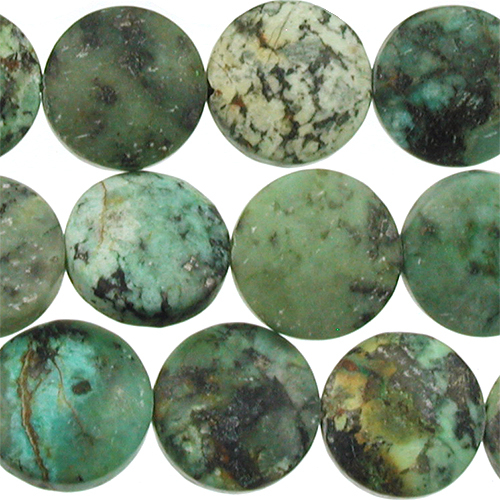 12mm Coin African Turquoise Matte Stone Bead Blue Green With Spots Natural Semiprecious Jasper Gemstone
