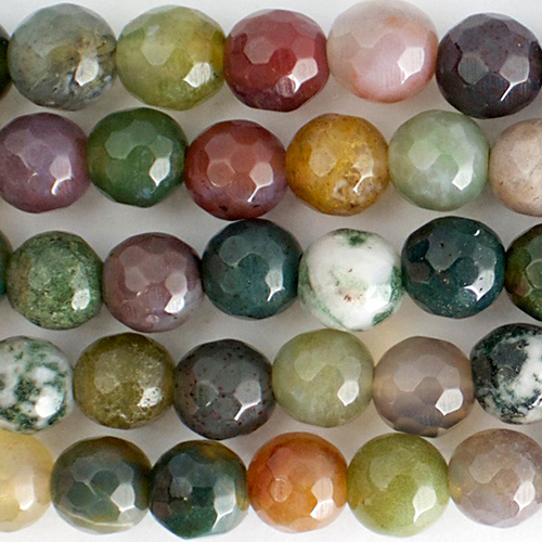 6mm faceted fancy jasper bead mixed colors