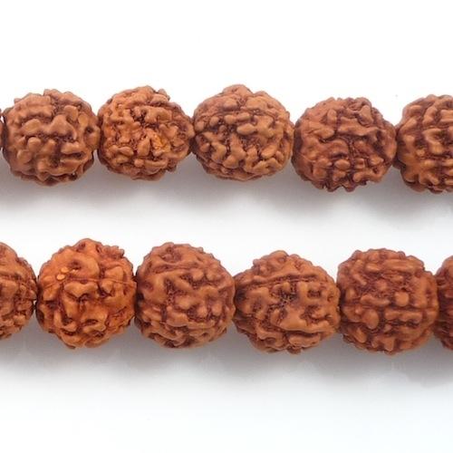 11mm Round Rudraksha Seed Mala Beads - Reddish Brown | Natural Wood Beads