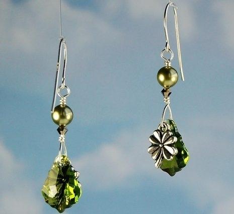 Image Lucky Clover Crystal Earrings