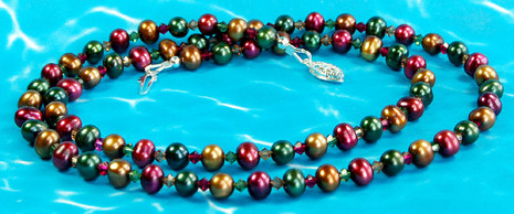 Image Crystal Pearl Fall Medley Necklace