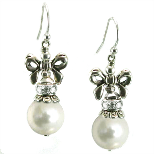 Image Holiday Bow White Pearl Earrings