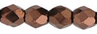 Czech Pressed Glass 3mm Faceted Round Bead - Dark Bronze - Opaque Iridescent Finish