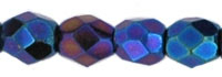 Czech Pressed Glass 3mm Faceted Round Bead - Iris Blue - Opaque Iridescent Finish