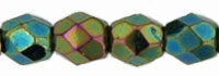 Czech Pressed Glass 3mm Faceted Round Bead - Iris Green - Opaque Iridescent Finish