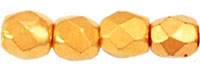 Czech Pressed Glass 3mm Faceted Round Bead - 24K Gold Plated - Metallic Finish