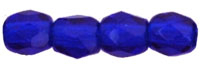 Czech Pressed Glass 3mm Faceted Round Bead - Cobalt - Transparent Finish