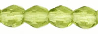 Czech Pressed Glass 3mm Faceted Round Bead - Olivine - Transparent Finish