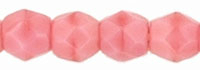 Czech Pressed Glass 3mm Faceted Round Bead - Pink Coral - Opaque Finish
