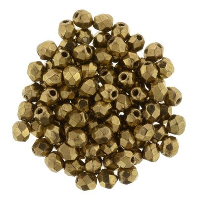 Czech Pressed Glass 3mm Faceted Round Bead - Bronze - Opaque Iridescent Finish