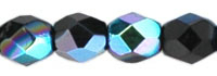 Czech Pressed Glass 3mm Faceted Round Bead - Jet AB - Opaque Iridescent Finish