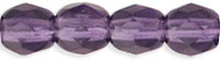 Czech Pressed Glass 4mm Faceted Round Bead - Tanzanite Purple - Transparent Finish