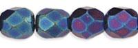 Czech Pressed Glass 4mm faceted round Iris Blue opaque iridescent | Czech Pressed Glass