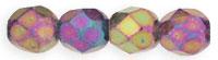 Czech Pressed Glass 4mm faceted round Iris Purple opaque iridescent | Czech Pressed Glass