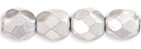 Czech Pressed Glass 4mm Faceted Round Bead - Silver - Metallic Full Coat Finish