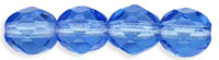 Czech Pressed Glass 4mm faceted round Sapphire transparent | Czech Pressed Glass