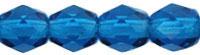 Czech Pressed Glass 4mm faceted round Capri Blue transparent | Czech Pressed Glass