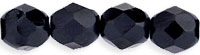 Czech Pressed Glass 6mm Faceted Round Bead - Black - Opaque Finish