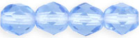 Czech Pressed Glass 6mm faceted round Lt. Sapphire transparent | Czech Pressed Glass