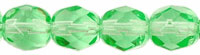 Czech Pressed Glass 6mm faceted round Peridot transparent | Czech Pressed Glass