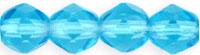 Czech Pressed Glass 6mm Faceted Round Bead - Aqua Blue - Transparent Finish