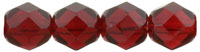 Czech Pressed Glass 6mm faceted round Ruby transparent | Czech Pressed Glass