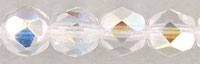 Czech Pressed Glass 6mm Faceted Round Bead - Crystal AB - Transparent Iridescent Finish