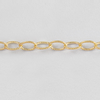 2.5mm Goldfill Textured Oval Cable Chain | Gold Filled Base Metal Chains for Making Jewelry