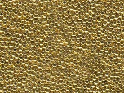 Japanese Miyuki Glass Seed Bead Size 11 - 24kt Light Gold Plate - Metallic Finish