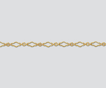 3.2mm Goldfill Fancy Krinkle Long and Short Diamond Chain | Gold Filled Chains for Making Jewelry