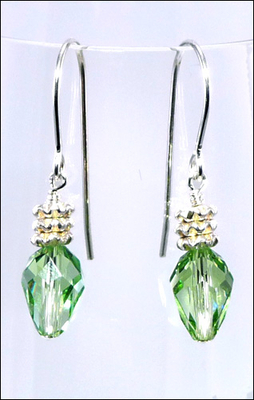 Holiday Green Light Swarovski Earrings with Sterling Silver Findings and Silver Finish Spacer Beads | Jewelry Project Kit Custom Kits
