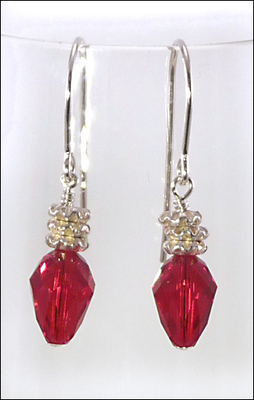 Holiday Red Light Swarovski Earrings with Sterling Silver Findings and Silver Finish Spacer Beads | Jewelry Project Kit Custom Kits