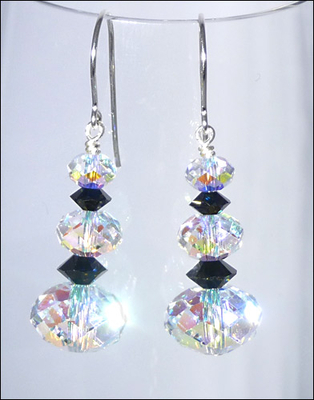 Happy New Year  Earrings with Swarovski Crystal AB Rondells and Jet Squished Bicones | Jewelry Project Kit Custom Kits