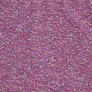 Japanese Miyuki Glass Seed Bead Size 15 - Magenta AB - Color Lined Iridescent Finish