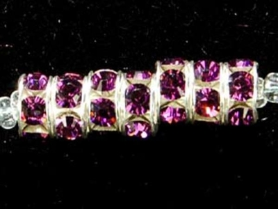 Swarovski Crystal 6mm Rhinestone Rondell Bead 1775 - Amethyst - Dark Purple - Nickel-free Silver Finish