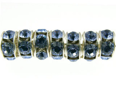 Swarovski Crystal 6mm Rhinestone Rondell Bead 1775 - Provence Lavender - Nickel-free Silver Finish