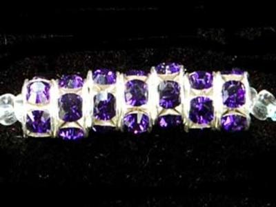 Swarovski Crystal 6mm Rhinestone Rondell Bead 1775 - Purple Velvet - Dark Royal Purple - Nickel-free Silver Finish