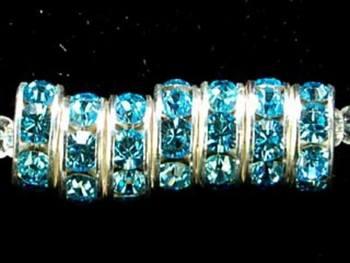 Swarovski Crystal 8mm Rhinestone Rondell Bead 1775 - Aquamarine - Aqua Blue - Nickel-free Silver Finish