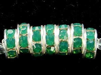 Swarovski Crystal 8mm Rhinestone Rondell Bead 1775 - Palace Green Opal - Opalescent - Nickel-free Silver Finish