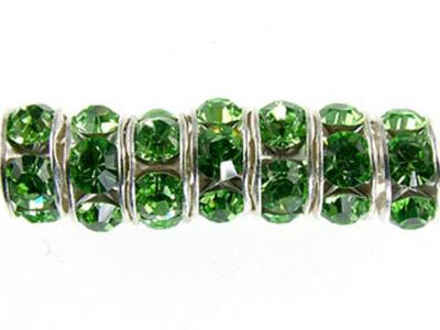 Swarovski Crystal 8mm Rhinestone Rondell Bead 1775 - Peridot - Light Green - Nickel-free Silver Finish