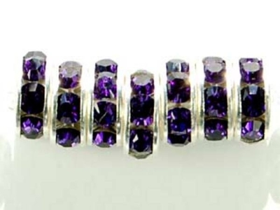 Swarovski Crystal 8mm Rhinestone Rondell Bead 1775 - Purple Velvet - Dark Royal Purple - Nickel-free Silver Finish