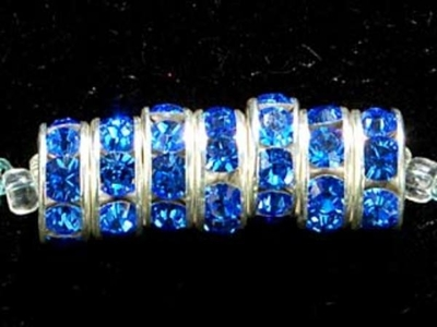 Swarovski Crystal 8mm Rhinestone Rondell Bead 1775 - Sapphire - Blue - Nickel-free Silver Finish
