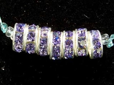 Swarovski Crystal 8mm Rhinestone Rondell Bead 1775 - Tanzanite - Bluish Purple - Nickel-free Silver Finish