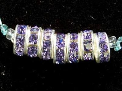 Swarovski Crystal 8mm Rhinestone Rondell Bead 1775 - Tanzanite - Bluish Purple - Nickel-free Silver Finish