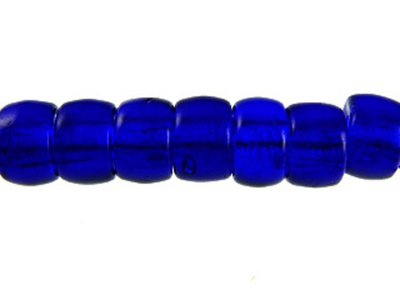 Czech Pressed Glass 6mm Crow Bead - Cobalt Blue - Transparent Finish