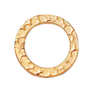 13mm Hammered Circle Ring Loop Link - 14k Goldfill Finish | Findings