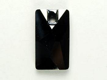 Swarovski Crystal 17x9.5mm Pendular Lochrose Pendant 3500 - Jet Hematite - Black with Gunmetal - Opaque with Half Coat Finish