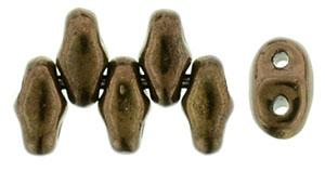Dark Bronze Metallic MiniDuos | Czech 2 x 4mm 2 Hole Glass MiniDuo Seed Beads